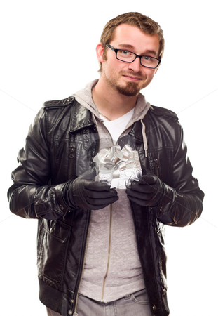 Warmly Dressed Handsome Young Man with Gift stock photo, Warmly Dressed Handsome Young Man Holding Wrapped Gift Isolated on a White Background. by Andy Dean