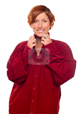 Pretty Red Haired Girl Wearing a Warm Red Corduroy Shirt stock photo, Pretty Red Haired Girl Wearing a Warm Red Corduroy Shirt Isolated on a White Background. by Andy Dean