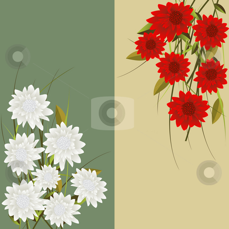 Floral fantasy stock photo, Floral fantasy, vertical headers with red and white  flowers by Richard Laschon