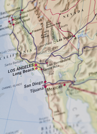 Map of Los Angeles stock photo, Map of Los Angeles by Anne-Louise Quarfoth