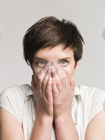 Portrait of an afraid woman stock photo, Portrait of an afraid woman by Anne-Louise Quarfoth