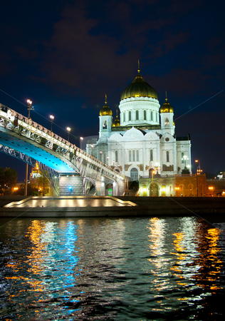 Night kind of a temple of the Christ of the Savior (2) stock photo, Moscow, temple of the Christ of the Savior, kind from bridg by Kirill Serkov