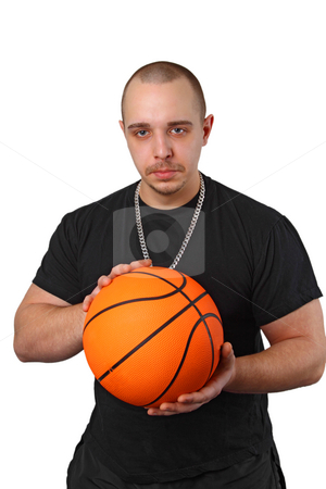 Basketball player stock photo, Young athletic man with basketball on white background by Birgit Reitz-Hofmann