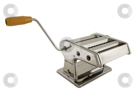 Pasta machine stock photo, A metal pasta machine used for making various types of pasta by Birgit Reitz-Hofmann