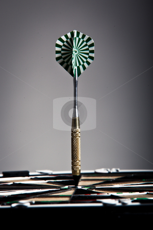 Vertical View Of An Arrow On Darts Board stock photo, Vertical View Of An Arrow That Hit The Darts Board Center by Nick Fingerhut
