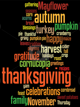 Happy thanksgiving stock vector clipart, Thanksgiving background, with random layout of thanksgiving words. by Mtkang