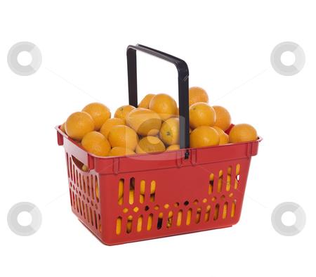 Shopping basket with oranges isolated towards white background stock photo, Shopping basket with oranges isolated towards white background by Anne-Louise Quarfoth