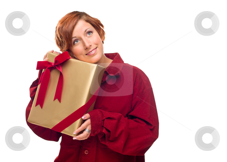 Pretty Red Haired Girl with Wrapped Gift Isolated stock photo, Pretty Red Haired Girl with Wrapped Gift Isolated on a White Background. by Andy Dean
