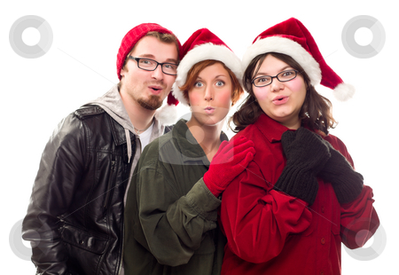 Three Friends Wearing Warm Holiday Attire stock photo, Three Friends Wearing Warm Holiday Attire Isolated on a White Background. by Andy Dean