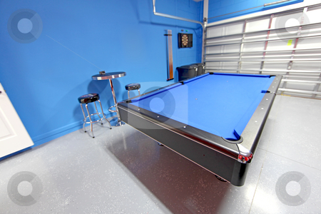 Games Room stock photo, A Games Room with Pool Table in a Garage by Lucy Clark