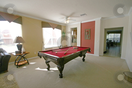 Pool Table stock photo, A Pool Table in a room in a house by Lucy Clark