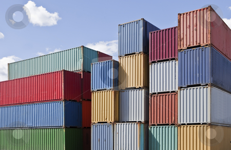 Cargo Containers stock photo, Cargo Containers at a dock by Anne-Louise Quarfoth