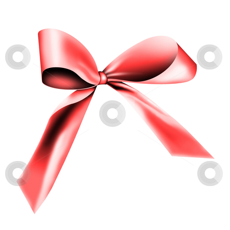 Red ribbon for a gift stock photo, A red ribbon with a knot isolated on white by Viktor Thaut