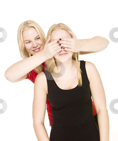 Girls playing Peek-a-boo stock photo, Girls playing Peek-a-boo isolated on white background by Anne-Louise Quarfoth
