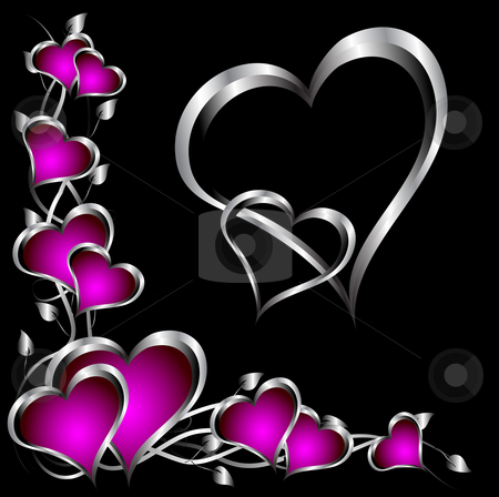A purple hearts Valentines Day Background stock vector clipart, A purple hearts Valentines Day Background with silver hearts and flowers on a black background by Mike Price