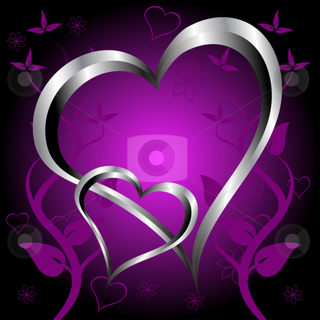 A purple hearts Valentines Day Background stock vector clipart, A purple hearts Valentines Day Background with silver hearts and flowers on a darker graduated background by Mike Price