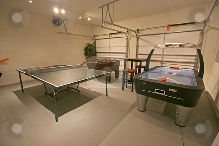Games Room stock photo, A Games Room with Pool Table, Table Tennis and Foosball. by Lucy Clark