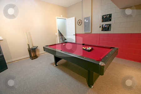 Games Room stock photo, A Games Room with Pool Table in a Home by Lucy Clark