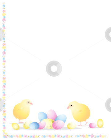 Easter chick stock vector clipart, An illustration of two easter chicks with blue pink and yellow eggs and a flower border on a white background by Mike Smith
