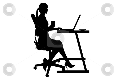 Businesswoman silhouette stock vector clipart, Businesswoman silhouette isolated on white background by Ioana Martalogu