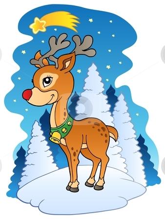 Christmas reindeer with comet stock vector clipart, Christmas reindeer with comet - vector illustration. by Klara Viskova