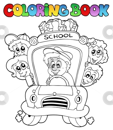 Coloring book with school images 3 stock vector clipart, Coloring book with school images 3 - vector illustration. by Klara Viskova
