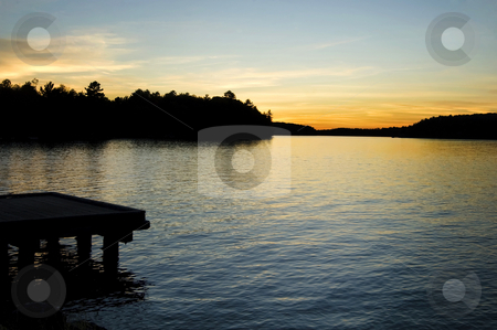 Cottage Sunset stock photo, Sunset over a lake in Muskoka, cottage country, Ontario. by Mary Lane