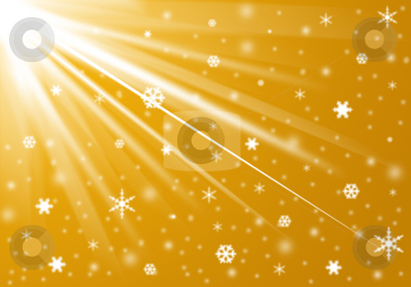 Christmas background stock photo, Golden background with snow and snowflakes by Cristinel Zbughin
