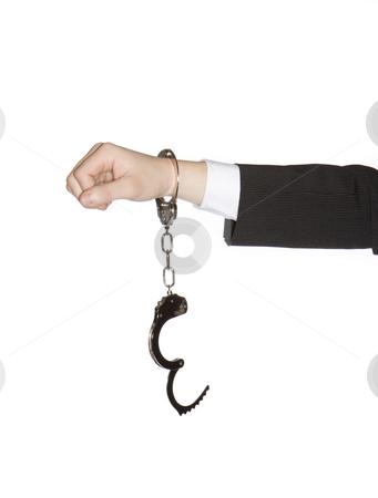 Man in handcuffs stock photo, Man in handcuffs by Anne-Louise Quarfoth
