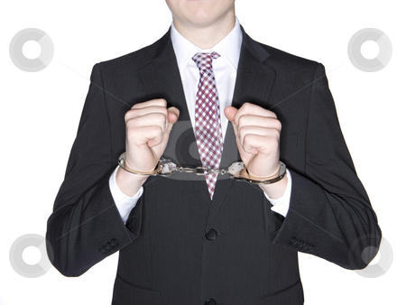 Man in handcuffs stock photo, Man in handcuffs by Anne-Louise Quarfoth