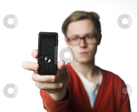 Man holding a phone stock photo, Man holding a phone by Anne-Louise Quarfoth