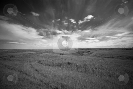 Prairie Landscape stock photo, Prairie landscape near Brooks, Alberta. Endless sky, flat fields and a power line. by Mary Lane