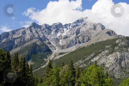 Banff Rockies stock photo, The Rocky Mountains, soaring above Banff, Alberta, Canada. by Mary Lane