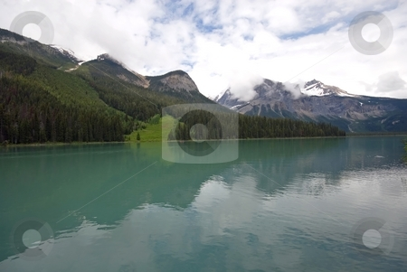 Emerald Lake stock photo, The Rockies rising above Emerald Lake near Field, British Columbia, Canada. by Mary Lane