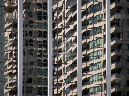 Wavy Reflections stock photo, Building reflections looking very wavy, Toronto, Ontario, Canada. by Mary Lane