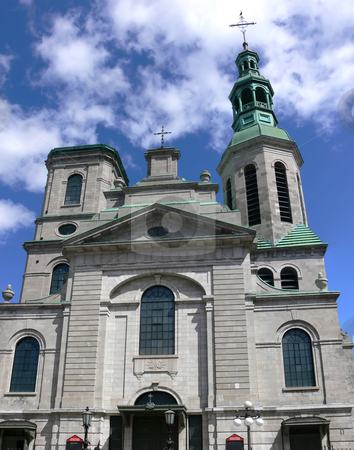 Quebec City Cathedral stock photo, Facade of the historic cathedral in Quebec City, Quebec, Canada. by Mary Lane