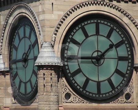 City Hall Clock stock photo, Closeup of the clock on Old City Hall, Toronto, Ontario, Canada by Mary Lane