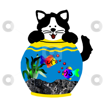Comical Cat in fish Bowl stock photo, Comical Cat in fish Bowl illustration by CHERYL LAFOND