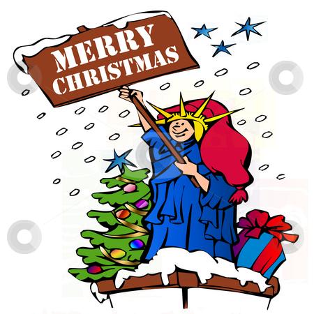 Stock Illustration - Statue of Liberty Merry Christmas stock photo, Stock Illustration - Statue of Liberty Merry Christmas by CHERYL LAFOND