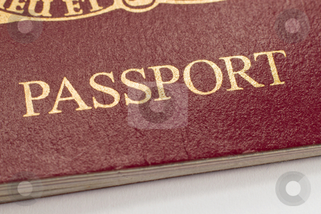 British passport word close up shallow focus. stock photo, British passport word close up shallow focus. by Stephen Rees