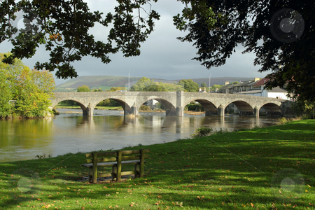 Bridge over the river Wye in Builth Wells, Wales UK. stock photo, Bridge over the river Wye in Builth Wells, Wales UK. by Stephen Rees