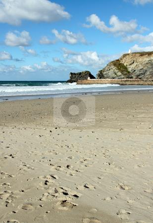 Portreath sandy beach and white clouds, Cornwall UK. stock photo, Portreath sandy beach and white clouds, Cornwall UK. by Stephen Rees