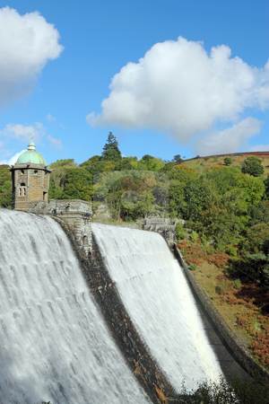 Penygarreg reservoir overflowing water, Elan Valley, Wales. stock photo, Penygarreg reservoir overflowing water, Elan Valley, Wales. by Stephen Rees