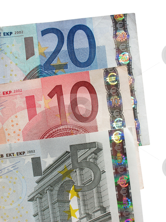 Five ten and twenty Euro notes close up. stock photo, Five, ten and twenty Euro notes close up. by Stephen Rees