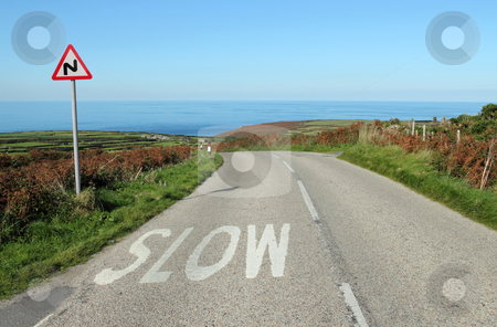 The B3306 road to the sea in Cornwall UK. stock photo, The B3306 road to the sea in Cornwall UK. by Stephen Rees