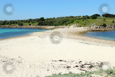 Sand bar beach between St. Agnes and Gugh, Isles of Scilly. stock photo, Sand bar beach between St. Agnes and Gugh, Isles of Scilly. by Stephen Rees