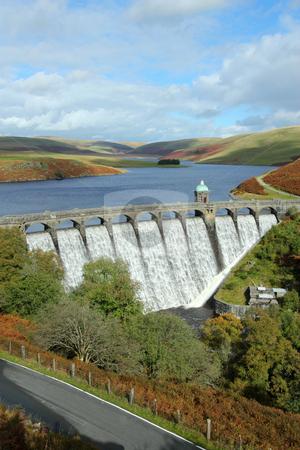 Craig Goch reservoir with water overflowing, Elan Valley, Wales. stock photo, Craig Goch reservoir with water overflowing, Elan Valley, Wales. by Stephen Rees
