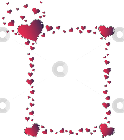 Red amaranth hearts frame stock photo, Valentine card. Ideal frame for valentines day portrait by Dario Rota