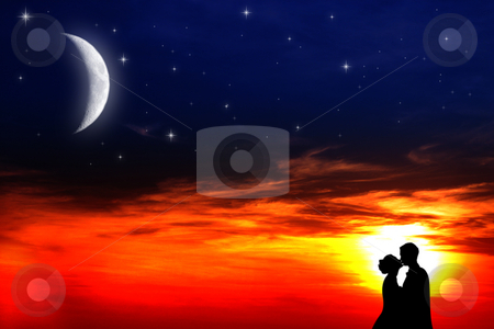 Lovers sunset stock photo, Two young lovers kissing at sunset by Dario Rota