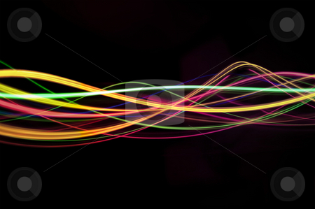 Light waves stock photo, Abstract sinusoidal waves of light on a black background by Stephen Gibson